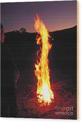 Wood Print featuring the photograph Woman In The Fire by Ankya Klay