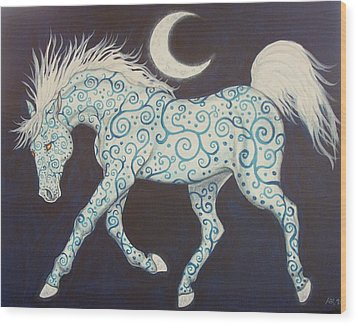 Dance Of The Moon Horse Wood Print by Beth Clark-McDonal