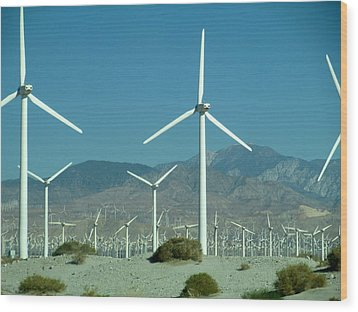 Dance Of The Wind Turbines Wood Print