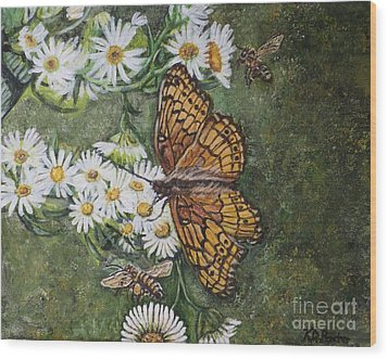 Wood Print featuring the painting Dance With The Daisies by Kimberlee Baxter