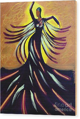 Wood Print featuring the painting Dancer by Anita Lewis