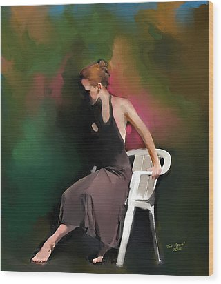 Dancer At Rest Wood Print by Ted Azriel