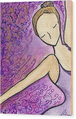 Wood Print featuring the painting Dancer In Electric Pink by Gioia Albano