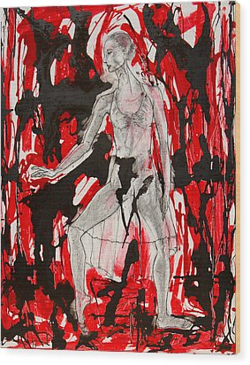 Dancer In Red And Black Wood Print by Brenda Clews