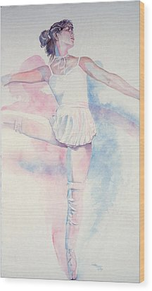 Dancer In Shades Of White Wood Print by Dan Terry