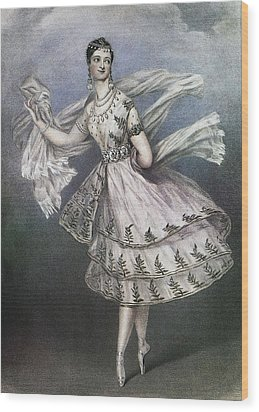 Dancer Maria Taglioni In The Ballet Le Wood Print by Everett
