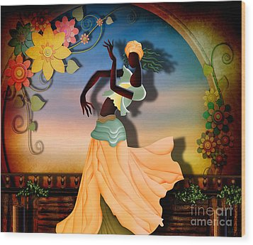 Dancer Of The Balcony Wood Print by Bedros Awak