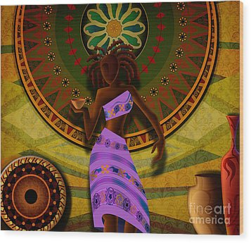 Dancer With Cup Wood Print by Bedros Awak
