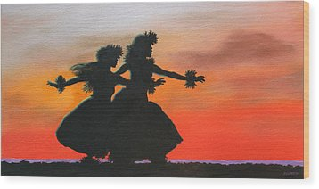 Dancers At Sunset Wood Print by Wahine Art