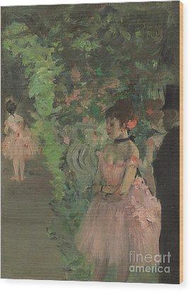 Dancers Backstage Wood Print by Edgar Degas