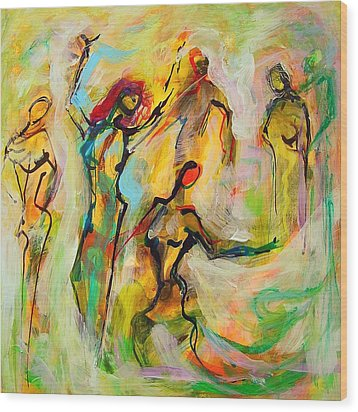 Dancers Wood Print by Mary Schiros