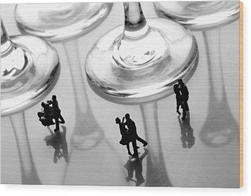 Dancing Among Glass Cups Wood Print by Paul Ge