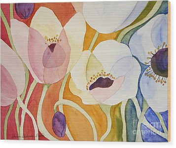 Dancing Anemones Wood Print by Shirin Shahram Badie
