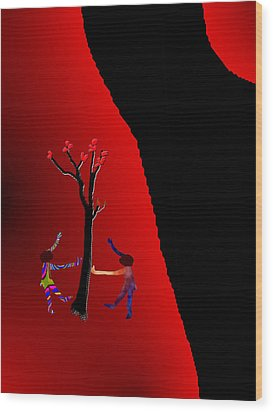Wood Print featuring the digital art Dancing Around A Tree by Asok Mukhopadhyay