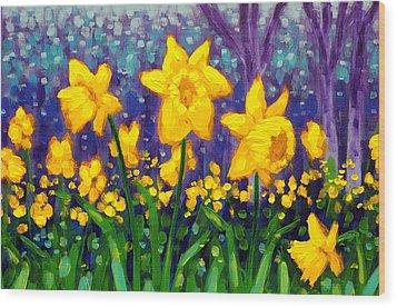 Dancing Daffodils    Cropped Wood Print by John  Nolan