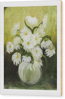 Dancing Daisies Wood Print by Nancy Edwards