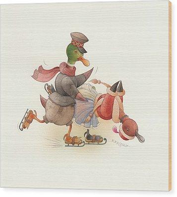 Dancing Ducks 03 Wood Print by Kestutis Kasparavicius