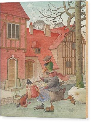 Dancing Ducks Wood Print by Kestutis Kasparavicius