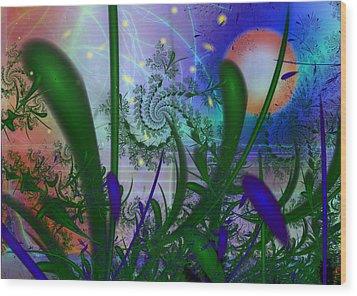 Dancing Fireflies Wood Print by Faye Symons