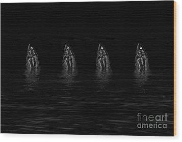 Dancing Fish At Night 4 Wood Print by Evgeniy Lankin