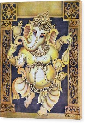 Dancing Ganesh Wood Print by Vishwajyoti Mohrhoff