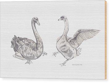 Dancing Geese Wood Print by John Keaton