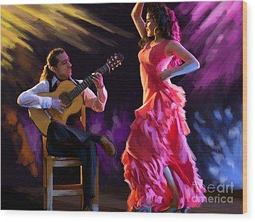 Dancing Gypsy Woman Wood Print