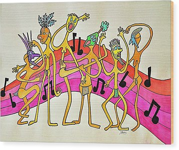 Dancing Happy People Wood Print by Glenn Calloway