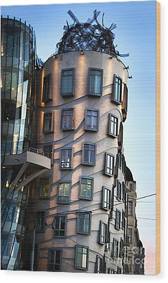 Dancing House In Prague Wood Print by Jelena Jovanovic