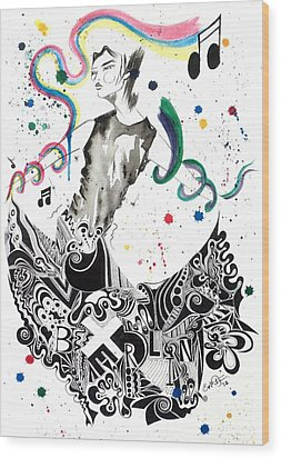 Dancing In Berlin Wood Print by Oddball Art Co by Lizzy Love