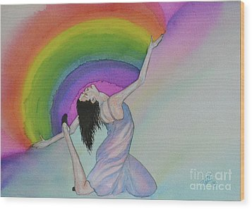 Wood Print featuring the painting Dancing In Rainbows by Suzette Kallen