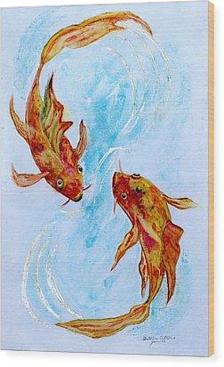 Dancing Koi Sold Wood Print