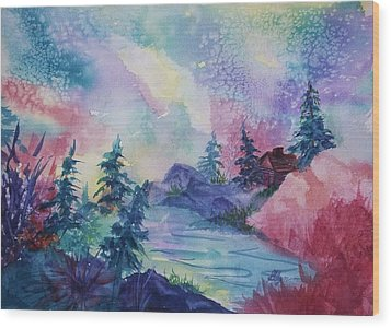 Dancing Lights II Wood Print by Ellen Levinson