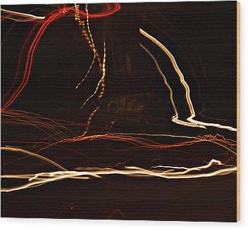La-405 Dancing Lights Wood Print