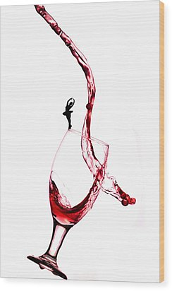 Dancing On A Glass Cup With Splashing Wine Little People On Food Wood Print by Paul Ge