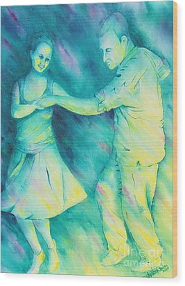 Dancing On The Plaza Wood Print