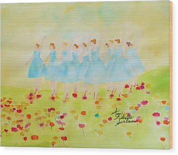 Dancing On Top Of The Flowers Wood Print
