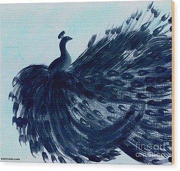 Dancing Peacock Aqua Wood Print by Anita Lewis