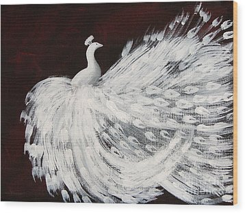 Dancing Peacock Burgundy Wood Print by Anita Lewis