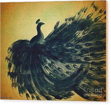 Wood Print featuring the painting Dancing Peacock Gold by Anita Lewis