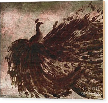 Wood Print featuring the painting Dancing Peacock Grey by Anita Lewis