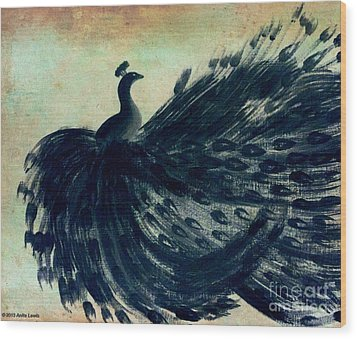 Wood Print featuring the painting Dancing Peacock Mint by Anita Lewis