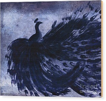 Wood Print featuring the painting Dancing Peacock Navy by Anita Lewis