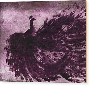 Dancing Peacock Plum Wood Print by Anita Lewis