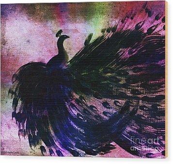 Dancing Peacock Rainbow Wood Print by Anita Lewis