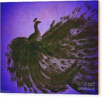 Dancing Peacock Vivid Blue Wood Print by Anita Lewis