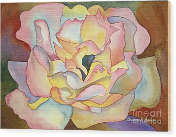 Dancing Petals Wood Print by Shirin Shahram Badie