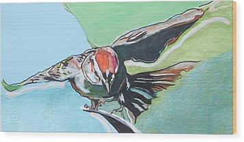 Dancing Sparrow Wood Print