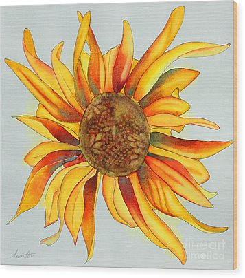 Dancing Sunflower Wood Print by Shannan Peters