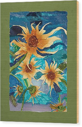 Dancing Sunflowers Wood Print by Carmen Williams